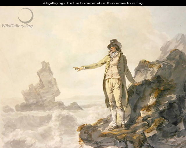 The Guide to the Stackpole Scenery pointing to Stack Rock Pembrokeshire - Julius Caesar Ibbetson