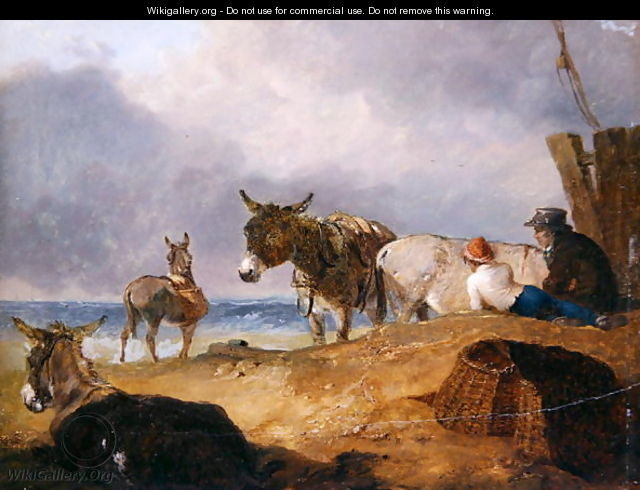 Donkeys and Figures on a Beach - Julius Caesar Ibbetson