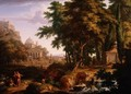 Arcadian Landscape with St Peter and St John Healing the Crippled Man - Jan Van Huysum
