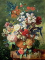 Still Life of Flowers and a Birds Nest on a Pedestal - Jan Van Huysum
