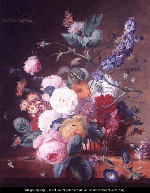 Roses, Dahlia Delphinium and other Flowers in a Basket on a Marble Ledge - Jan Van Huysum