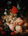 Mixed Flowers and Fruit with Insects on a Marble Plinth - Jan Van Huysum