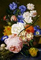 Roses morning glory narcissi aster and other flowers in a basket with eggs in a nest on a marble ledge - Jan Van Huysum