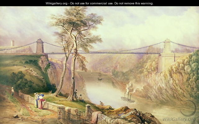 View of the Avon Gorge with the approved design for the Clifton Suspension Bridge - Samuel Jackson