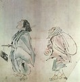 Samurai being followed by a servant - Hanabusa Itcho