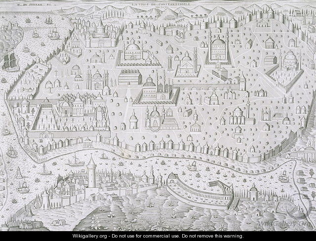 Town map of Constantinople Turkey - Jaspar de Isaac
