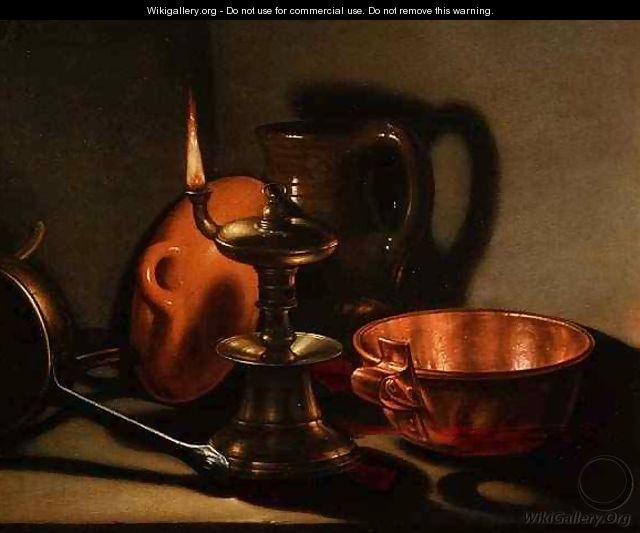 A Still Life with an oil lamp - Cornelis Jacobsz Delff