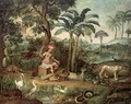Native Indian in a landscape with animals - Jose Teofilo de Jesus