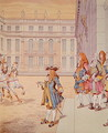 Louis XIV in the courtyard of Versailles uttering his celebrated phrase Jai Failli Attendre - Jacques Onfray de Breville