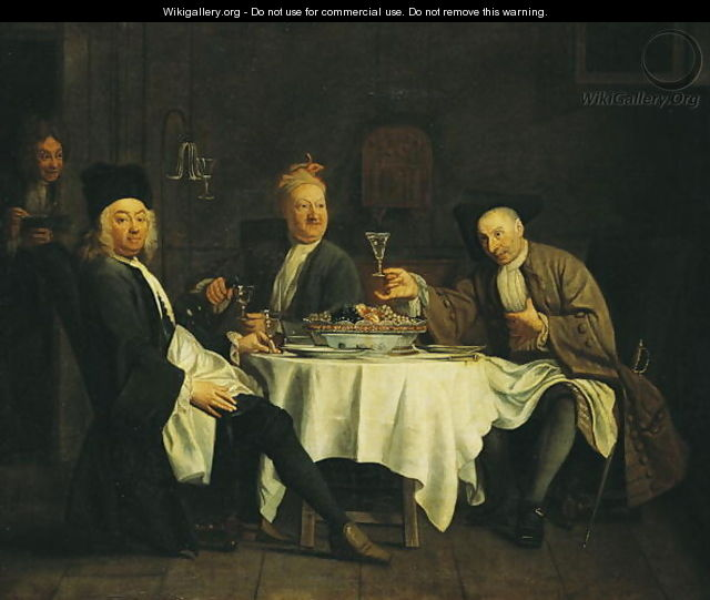 The Poet Alexis Piron 1689-1773 at the Table with his Friends Jean Joseph Vade 1720-57 and Charles Colle 1709-83 - Etienne Jeaurat