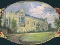 Victorian sewing box panel decorated with an oval cameo of St Johns College gardens - L. and Bettridge, H. Jennens