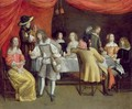 Elegant Company Dining Beneath a Red Canopy - Hieronymus Janssens
