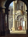 A Capriccio of a Baroque Palace with the Return of the Prodigal Son - Antonio Joli