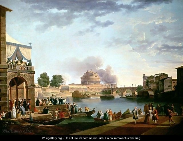The Election of the Pope with the Castel St Angelo Rome in the background - Antonio Joli