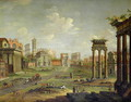 The Campo Vaccino Rome Looking Towards St Francesca Romana and the Arch of Titus from the Temple of Saturn - Antonio Joli