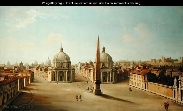 A View of the Piazza del Popolo - (attr. to) Joli, Antonio de dipi