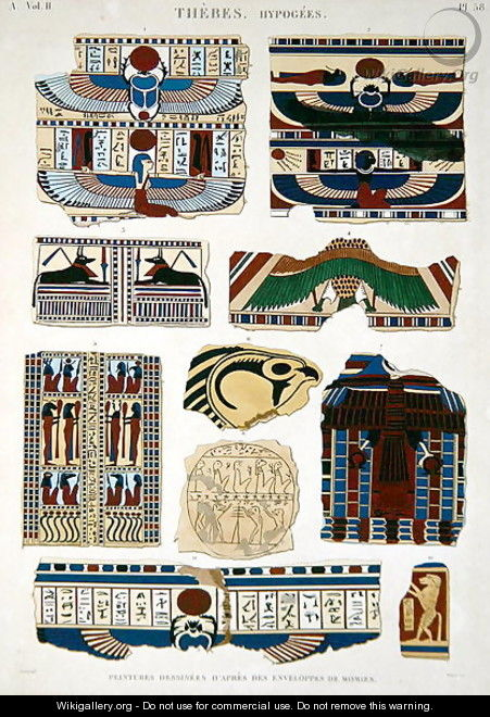Illustrations of painted designs from the wrappings of the mummies - (after) Jomard