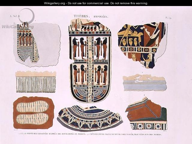 Illustrations of decorative details from the wrappings of mummies - (after) Jomard