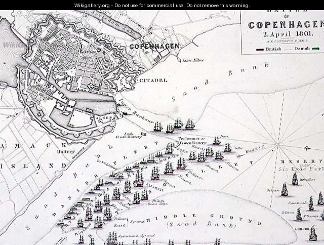 Plan of the Battle of Copenhagen - Alexander Keith Johnston