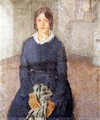 Girl in a blue dress holding a piece of sewing - Gwen John