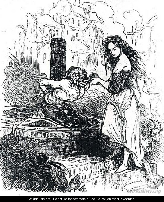 Esmeralda giving Quasimodo a drink - Tony Johannot