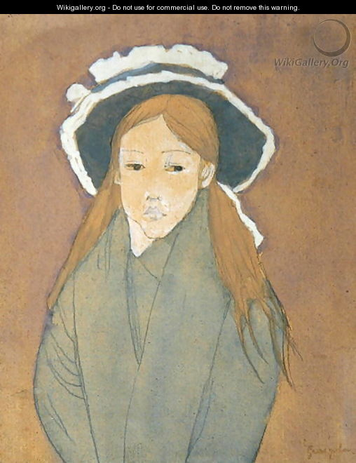 Girl with Large Hat and Straw Coloured Hair - Gwen John