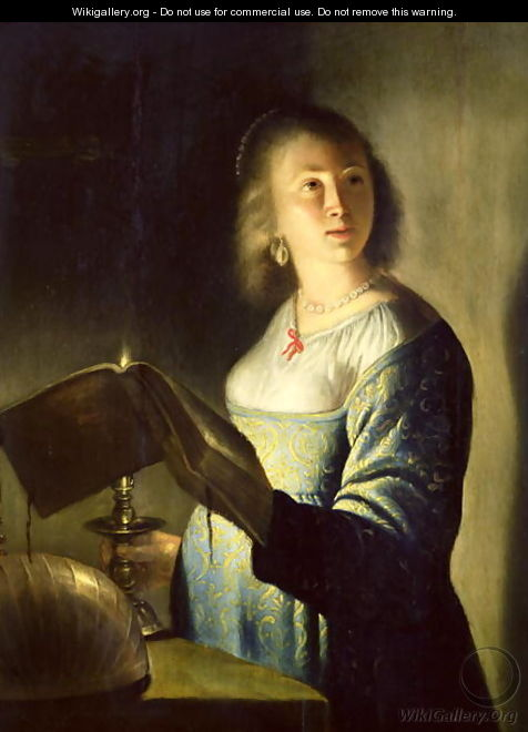 Young Woman with a Candle - Isaac de Jouderville