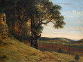 Welsh landscape with oak trees by a ruin - Thomas Jones