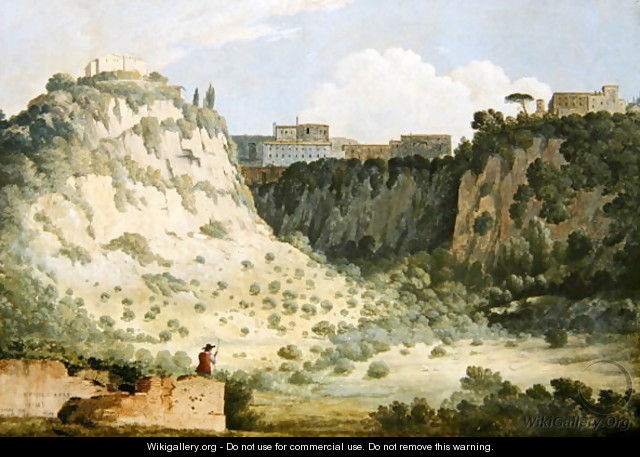 View of the Temple of Diana Nemi with a Shepherd in the Foreground - Thomas Jones
