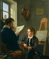 Hermann Kauffmann and Georg Haeselich 1806-94 in Kauffmanns Munich Studio - Hermann Kauffmann