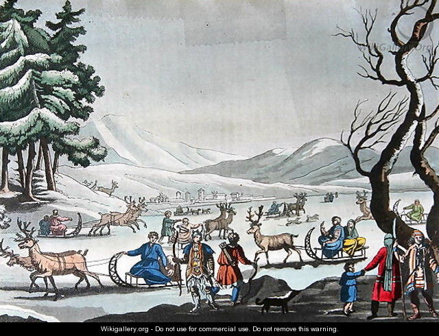 Tungus leaving their winter camp on sleighs pulled by reindeer - E. Karnejeff