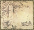 Two Fold Screen depicting Birds and Waterfall - Eitoku Kano