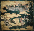 Tartar Envoys Arriving in Ships Their Advance Party Ashore Momoyama Period - Eitoku Kano