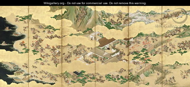 Six Fold Screen depicting Battle of the Genji and the Heike Clans 2 - Yusetsu Kaiho