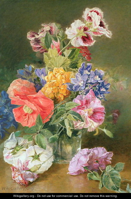 Roses Poppy and Pelargonia - James Holland