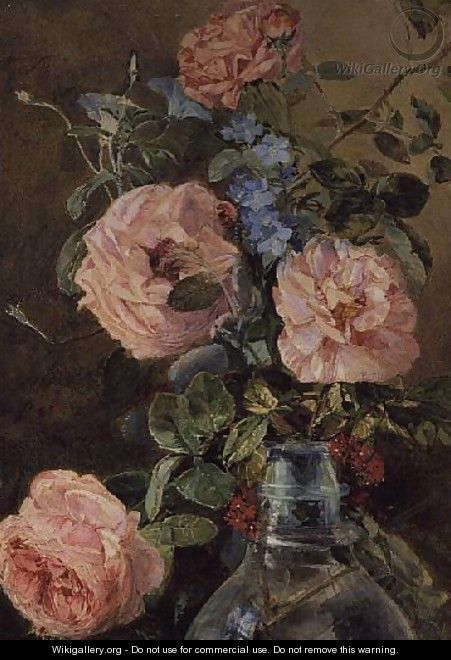 Roses Convolvulus and Delphiniums - James Holland