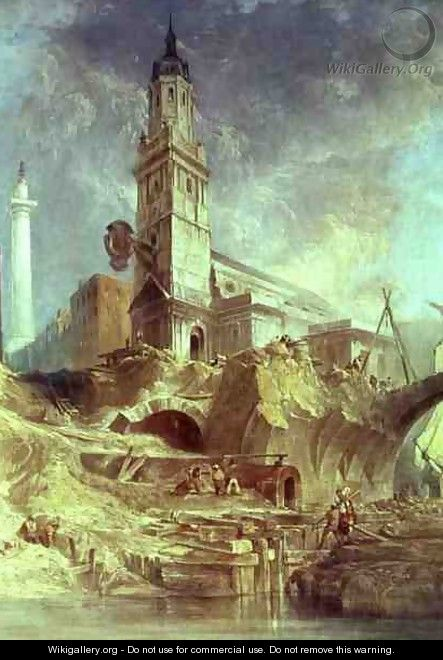Demolishing Old London Bridge with St Magnus the Martyr behind - James Holland