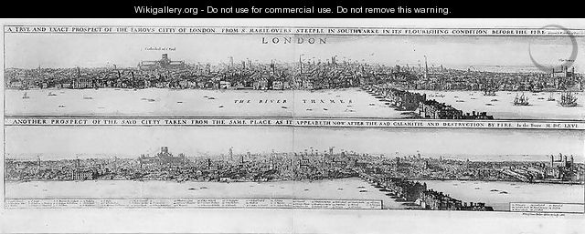 Prospect of London before and after the Great Fire - Wenceslaus Hollar