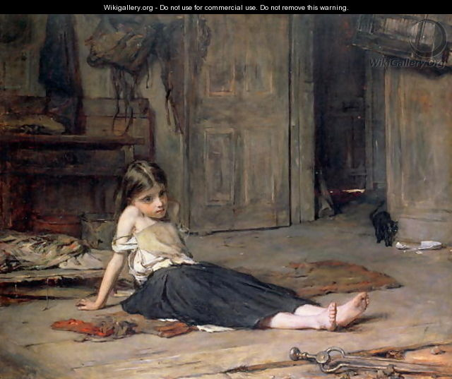 Girl by the Fireside - Frank Holl