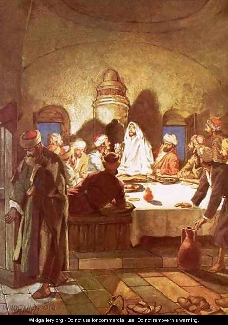 Jesus breaking bread and giving his disciples the cup - William Brassey Hole