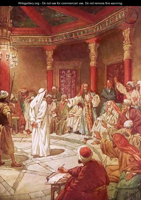 Jesus brought before Caiaphas and the Council - William Brassey Hole