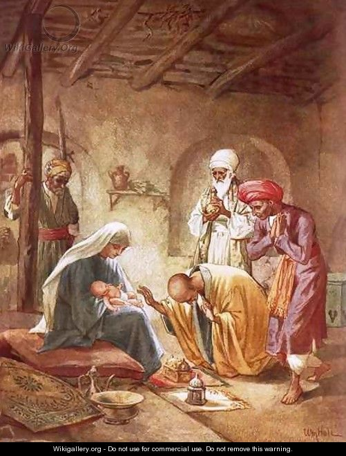 Three kings worshipping Christ - William Brassey Hole