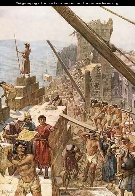 Rebuilding the wall of Jerusalem under Nehemiah - William Brassey Hole