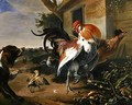 Poultry and Spaniel in a farmyard - Melchior de Hondecoeter