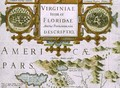 Title cartouche and insets detail of the map of North Carolina titled Virginiae item et Floridae from the Mercator Atlas - Jodocus Hondius