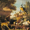 Macaw and a monkey - Melchior de Hondecoeter