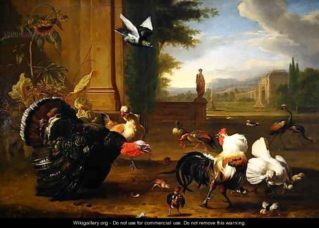 A Turkey Cock and Cockerel and other exotic fowl in a park setting - Melchior de Hondecoeter