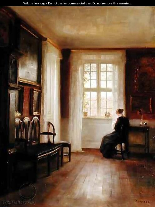 Interior with Woman Sewing - Carl Vilhelm Holsoe