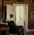 A woman seated near a door - Carl Vilhelm Holsoe
