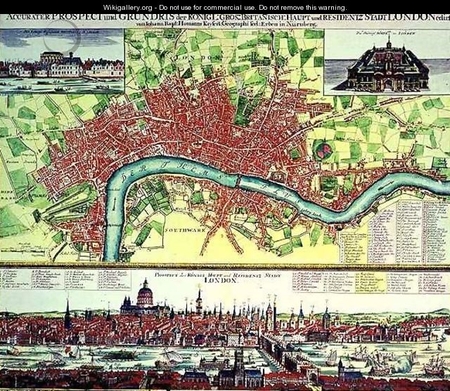 Aerial Map of London and View across the Thames from South Bank with St Pauls and London Bridge - Johann Baptist Homann